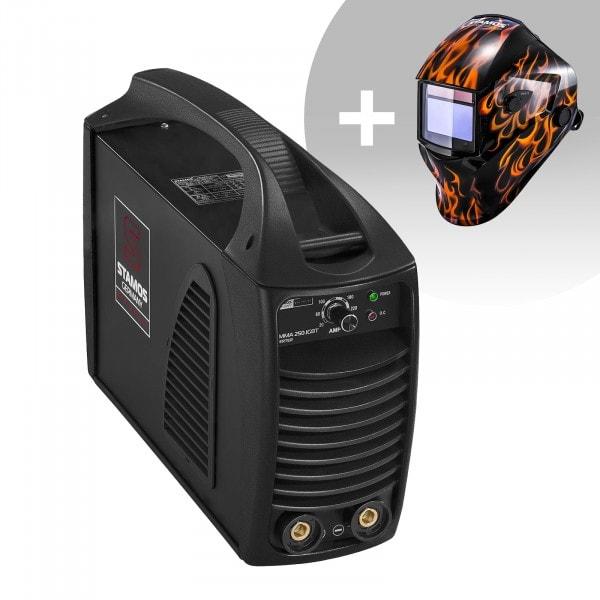 Svařovací set Elektrodová svářečka - 250 A - Hot Start - IGBT + Svářecí helma - Firestarter 500 - ADVANCED SERIES