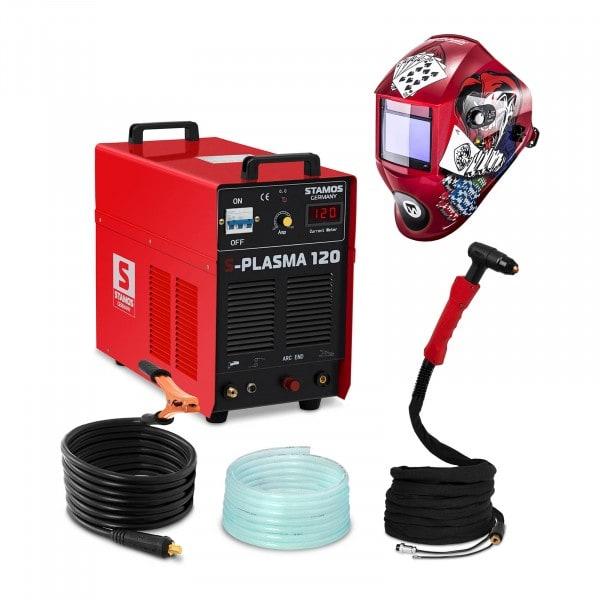Svařovací set Plazmová řezačka - 120 A - 400 V - zapalování s pilotním startem + Svářecí helma - Pokerface - PROFESSIONAL SERIES