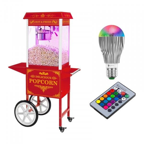 Stroj na popkorn s vozíkem a LED osvětlením - retro vzhled - červený