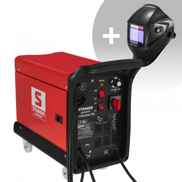 Svařovací set Kombinovaná svářečka - 175 A - 230 V - přenosná + Svářecí helma - Carbonic - PROFESSIONAL SERIES